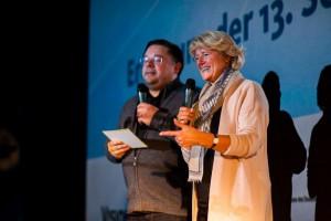 Prof. Monika Grütters im Gespräch mit Sven-Ole Knuth bei der Eröffnung der SchulKinoWochen 2016